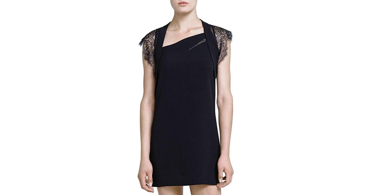 Lyst The Kooples Lace Cap Sleeve Crepe Dress In Black