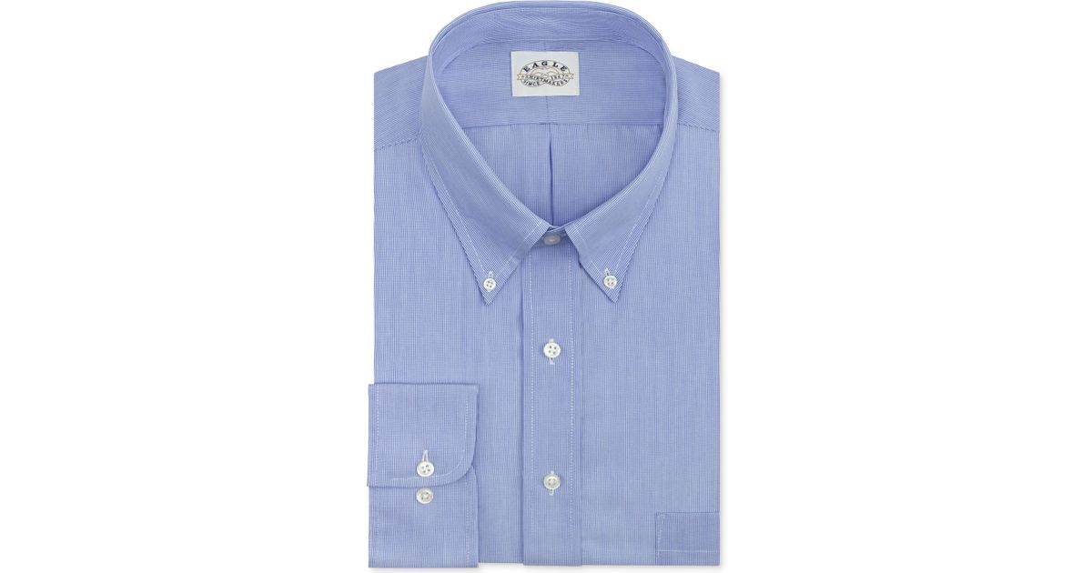 Eagle men 39 s big tall classic fit non iron blue feather for Dress shirts for big and tall