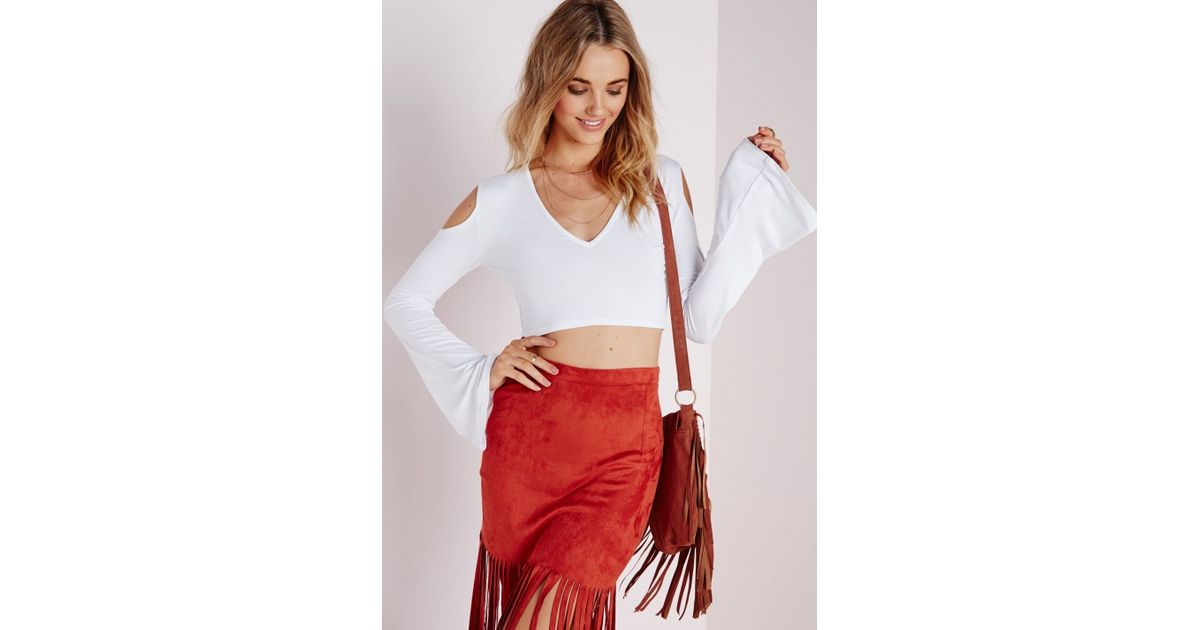 f7b24aa0e50 Lyst - Missguided Cold Shoulder Bell Sleeve Crop Top White in White