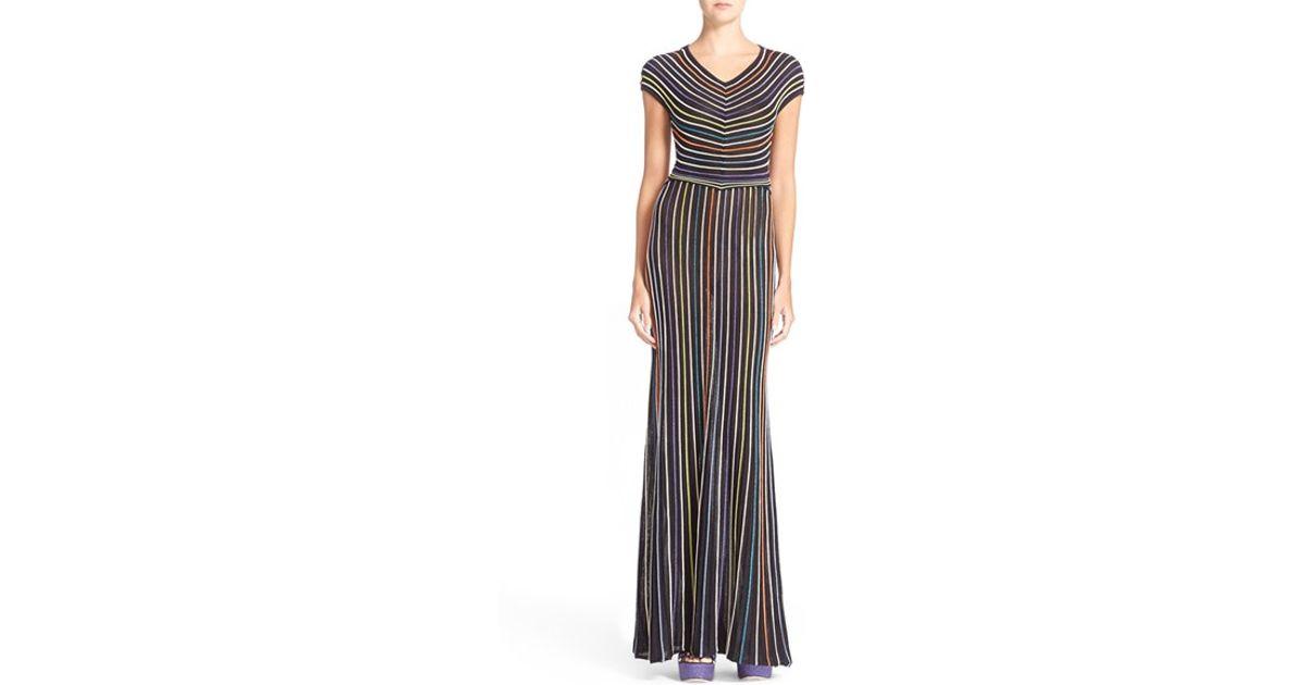 983277dc916b Lyst - M Missoni Microstripe Metallic Knit Maxi Dress in Black
