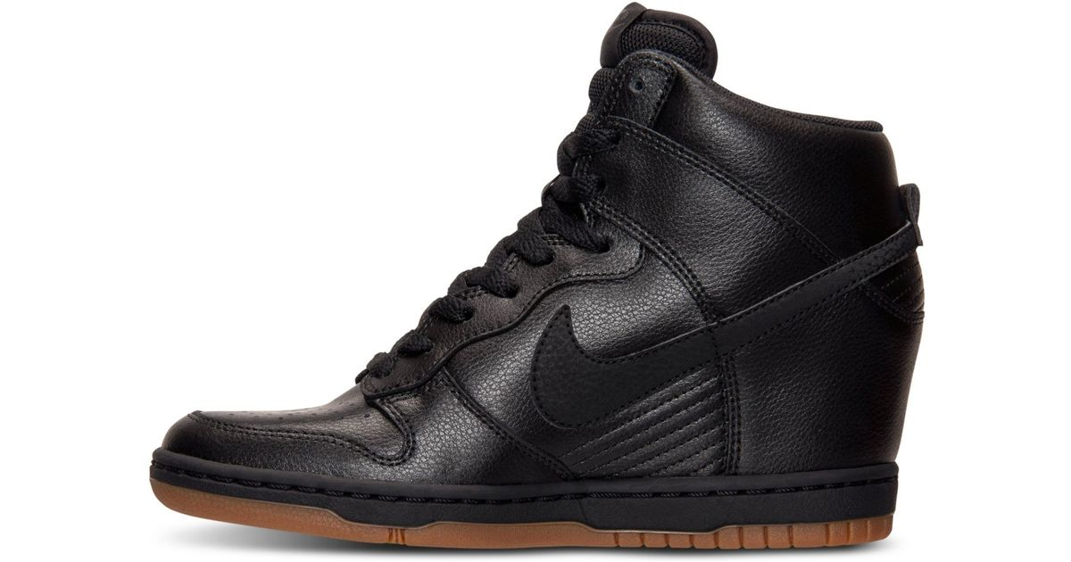 best website e7353 35690 ... Nike Dunk Sky Hi Essential Leather Sneakers in Black Lyst ...