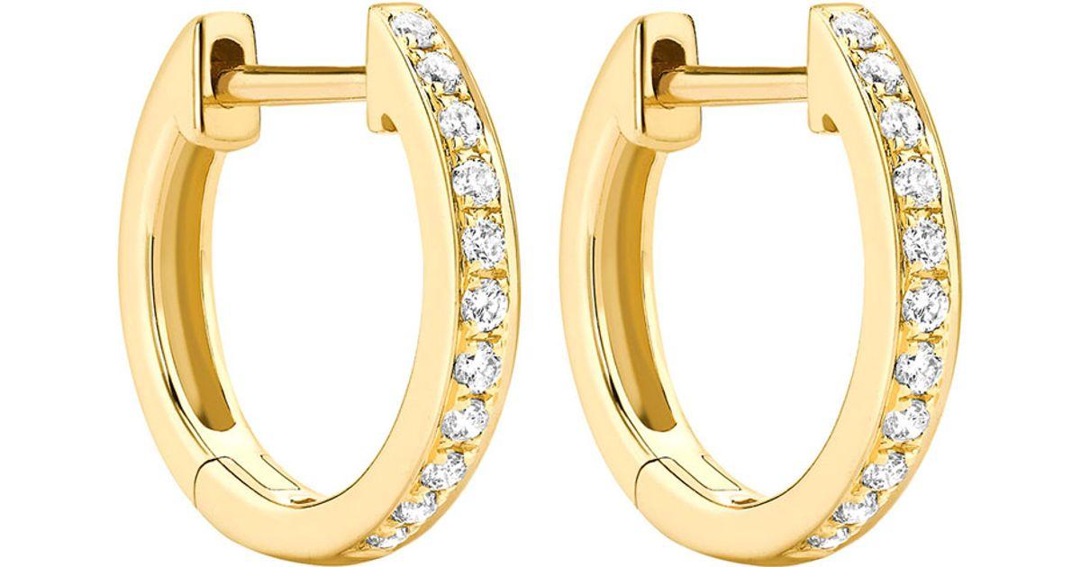 Lyst Kiki Mcdonough Clics 18k Yellow Gold Diamond Hoop Earrings In Metallic