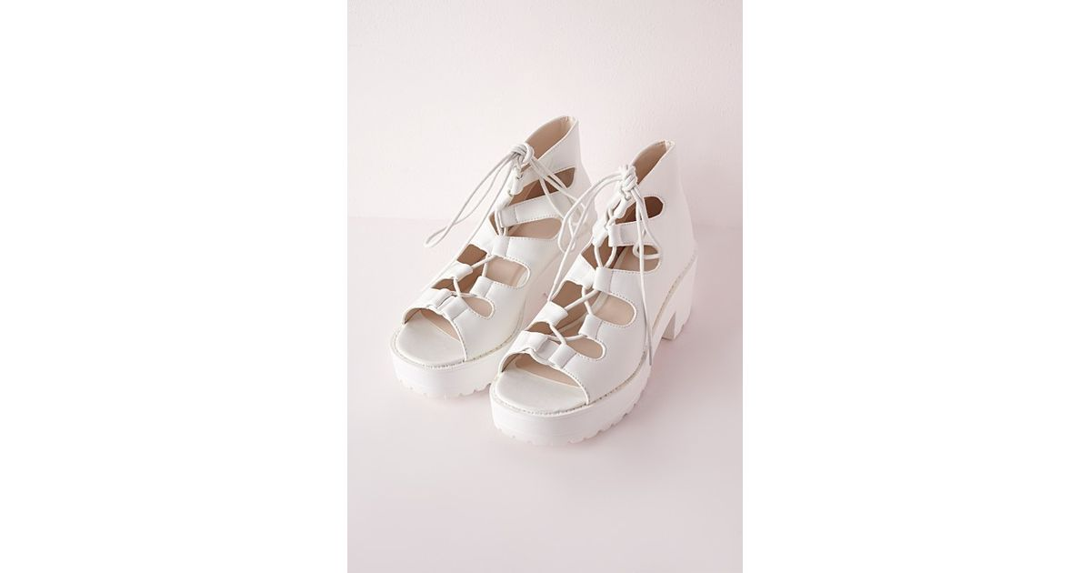 7587300f73f2 Lyst - Missguided Cleated Sole Lace Up Sandals White in White