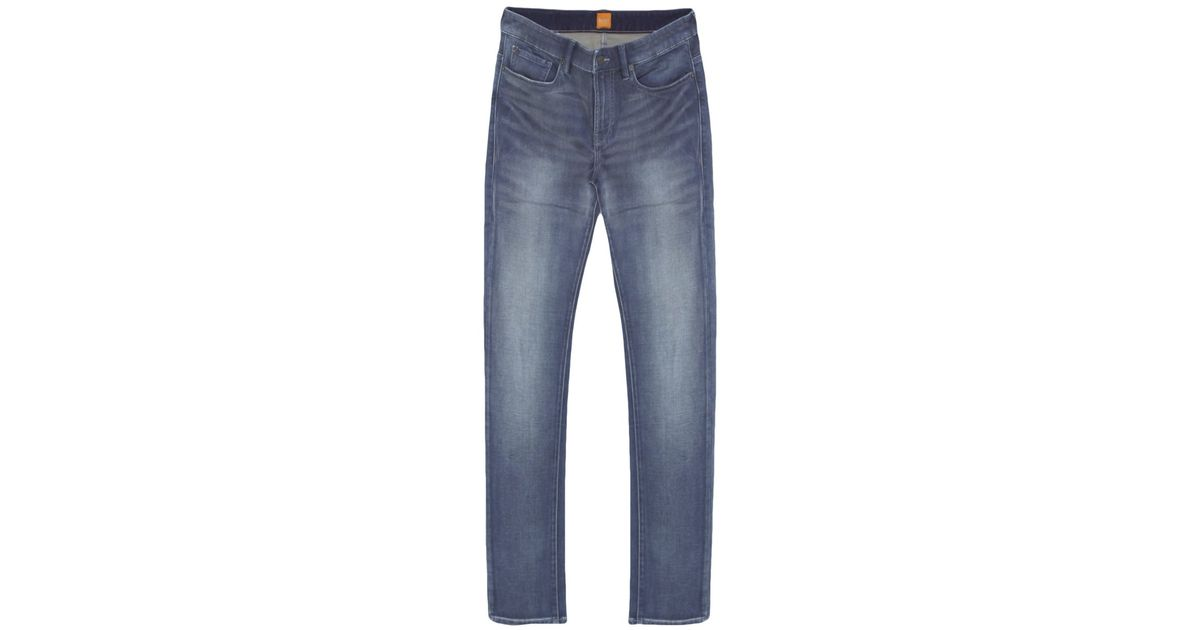 boss orange regular fit orange72 jeans in blue for men. Black Bedroom Furniture Sets. Home Design Ideas