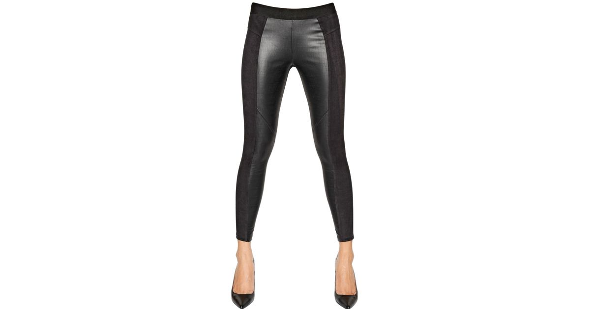 2f91a991219dc David Lerner Faux Suede Faux Leather Leggings in Black - Lyst