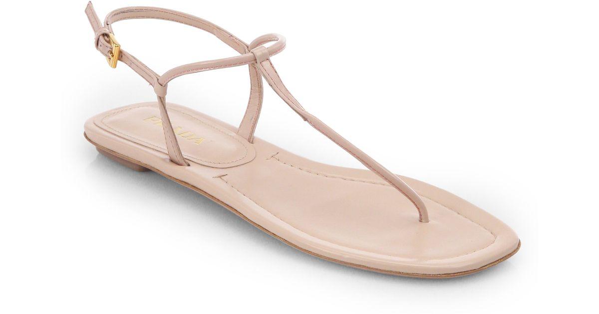 Prada Leather Thong Flat Sandals o756jJQ7