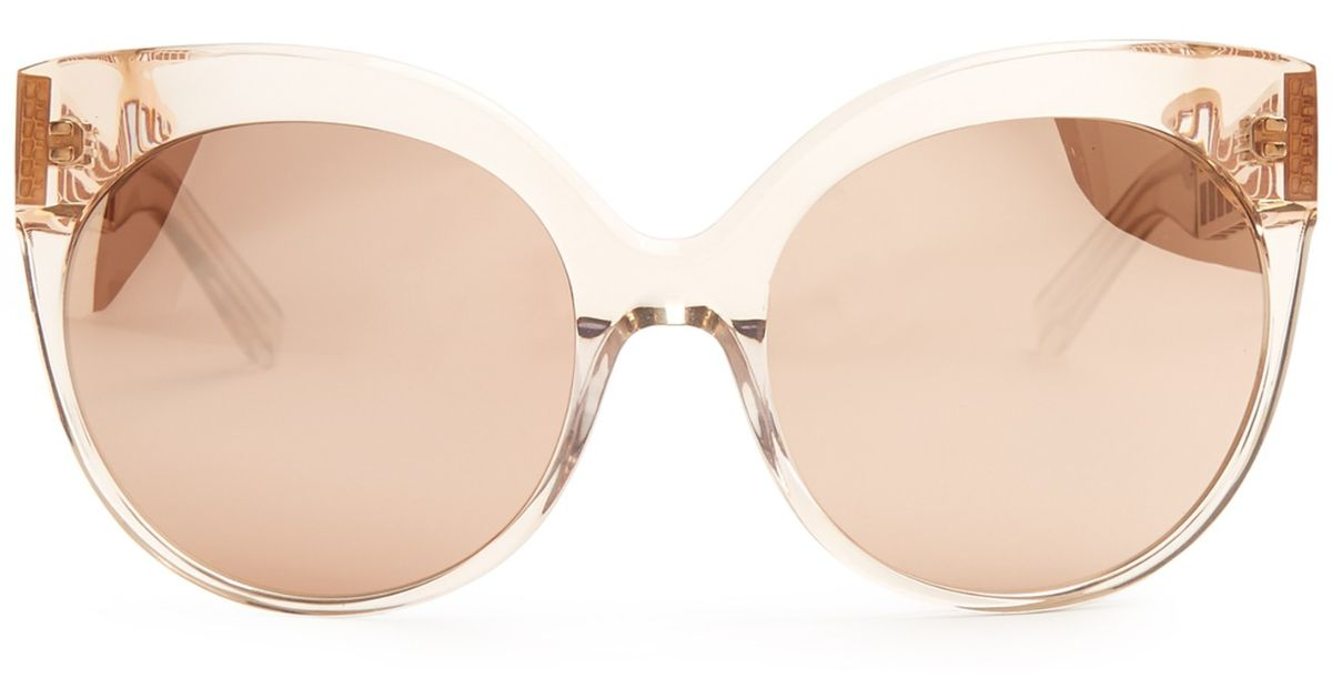 84abe26160c5b Linda Farrow Rounded Cat-eye Rose-gold Plated Sunglasses in Pink - Lyst
