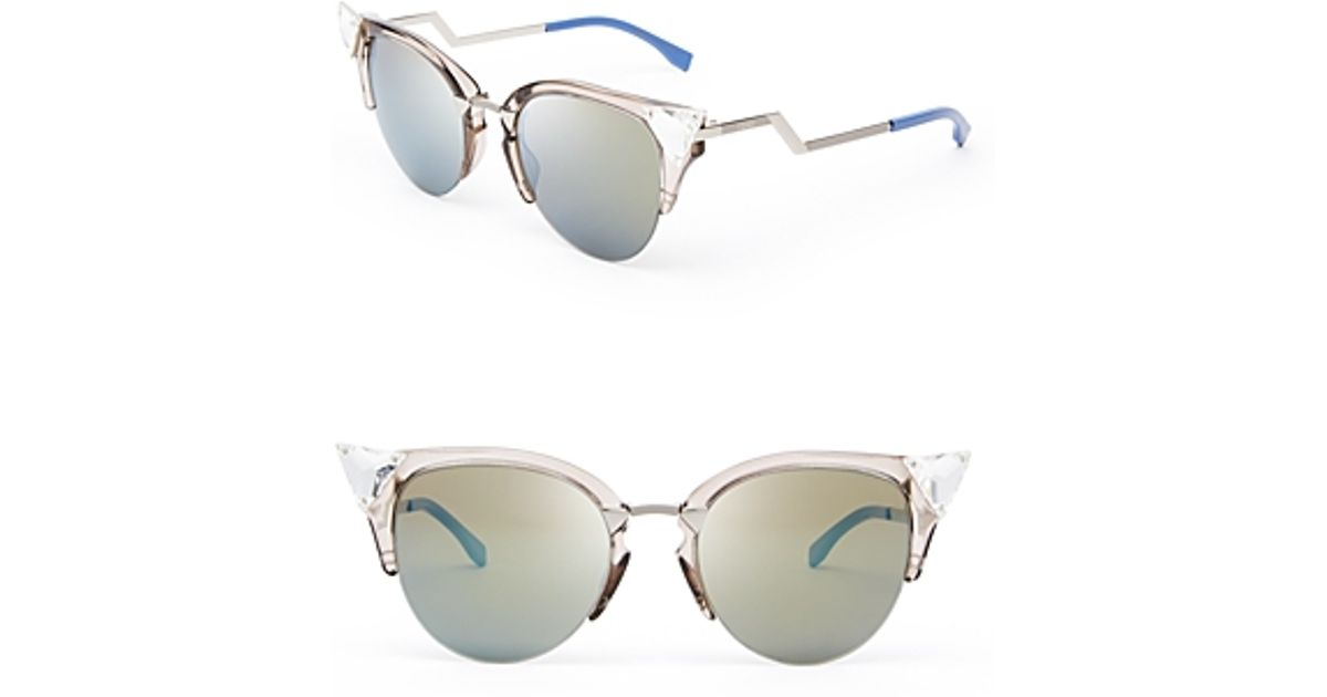 a5affd438743d Fendi Crystal Embellished Mirrored Cat Eye Sunglasses in Metallic - Lyst