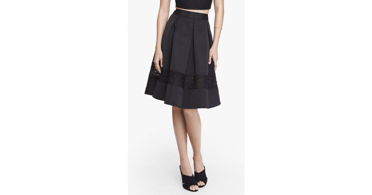 express lace inset high waist midi skirt in black lyst