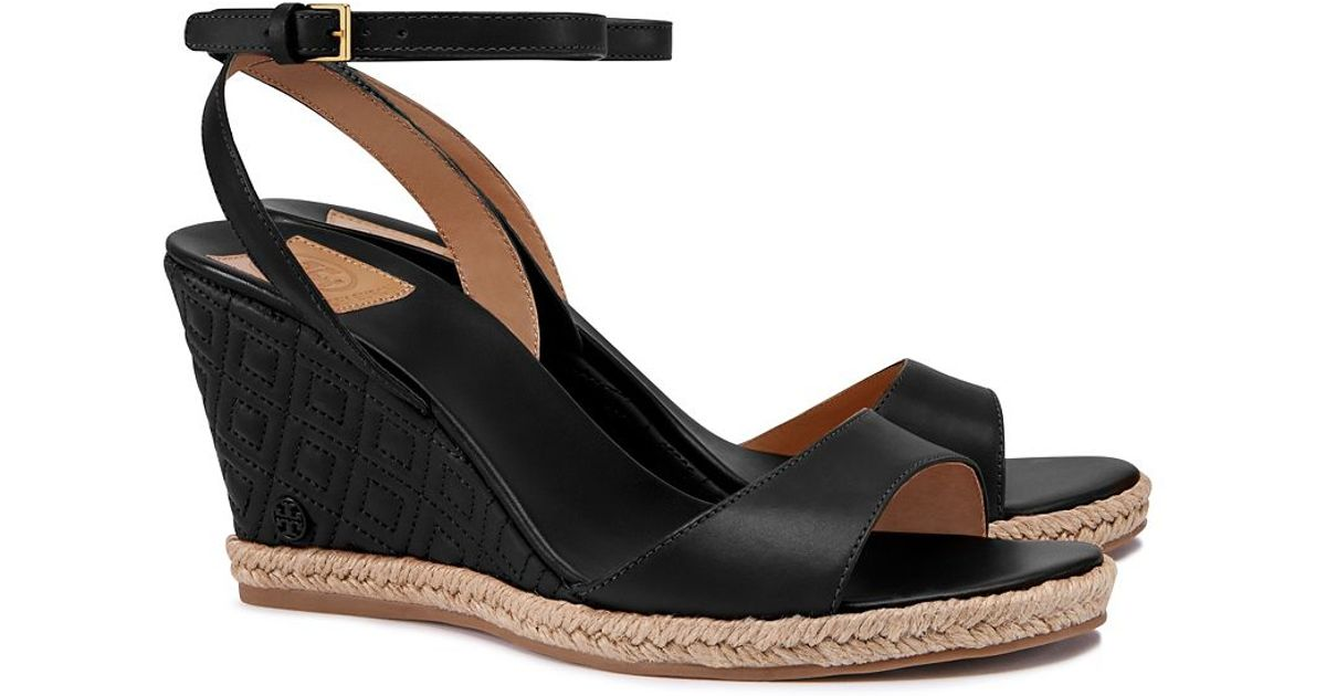 c36c0b878 Lyst - Tory Burch Marion Quilted Espadrille Wedge Sandal in Black