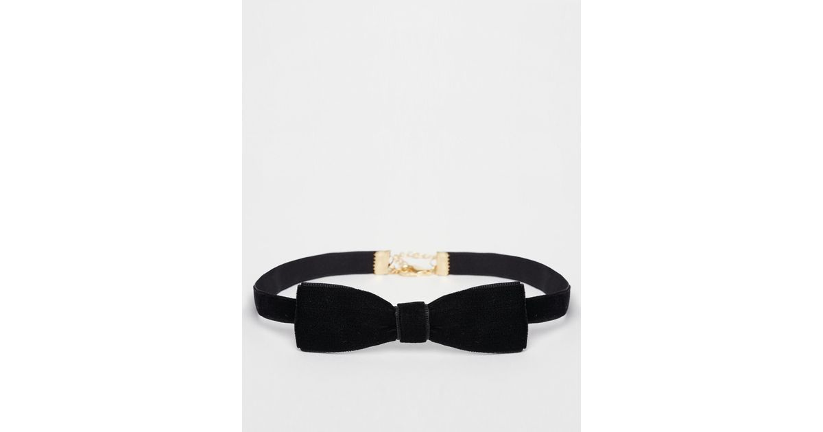 Lyst - ASOS Bow Choker Necklace in Black 6170706b6