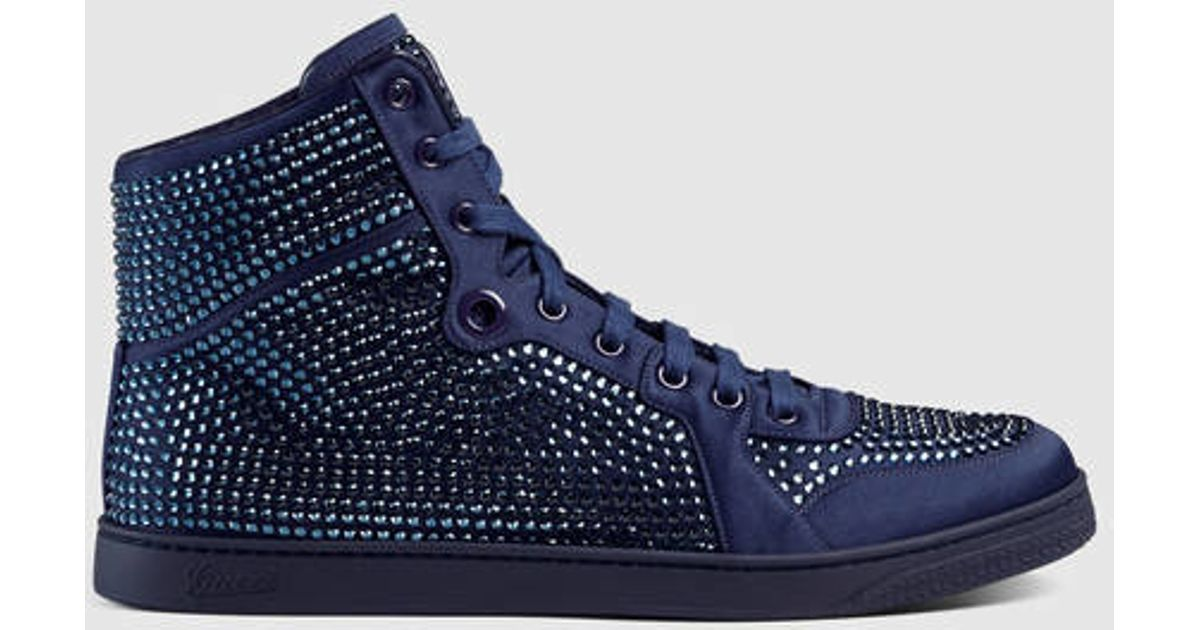 Lyst - Gucci High-top Sneaker With Crystal Studs in Blue for Men 1319a10afb35