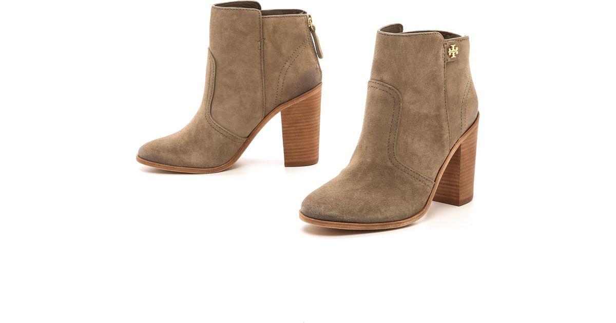 267e5784db15 Lyst - Tory Burch Leena Suede Mid Heel Booties in Natural