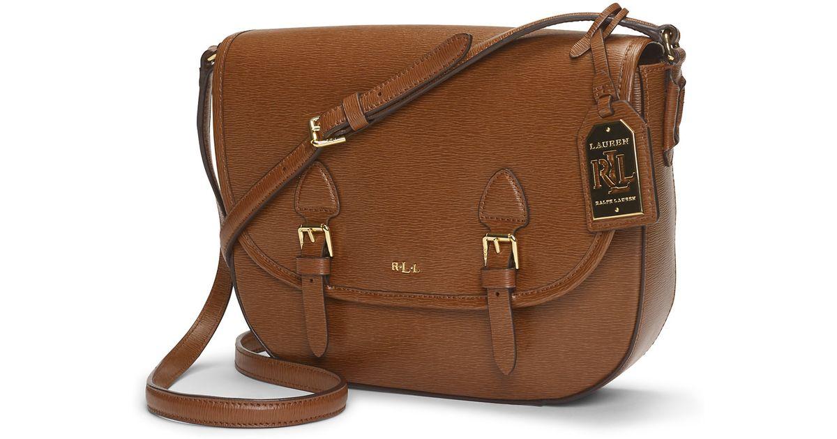 ralph lauren tate leather messenger bag in brown lauren. Black Bedroom Furniture Sets. Home Design Ideas