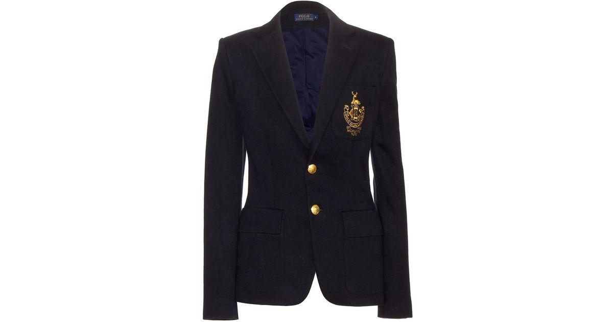 polo ralph lauren custom embroidered cotton blend blazer in blue. Black Bedroom Furniture Sets. Home Design Ideas