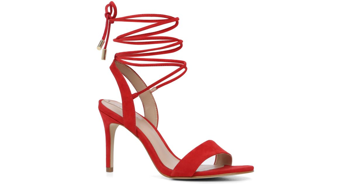 Aldo Marilyn Lace-up High Heel Sandals in Red | Lyst