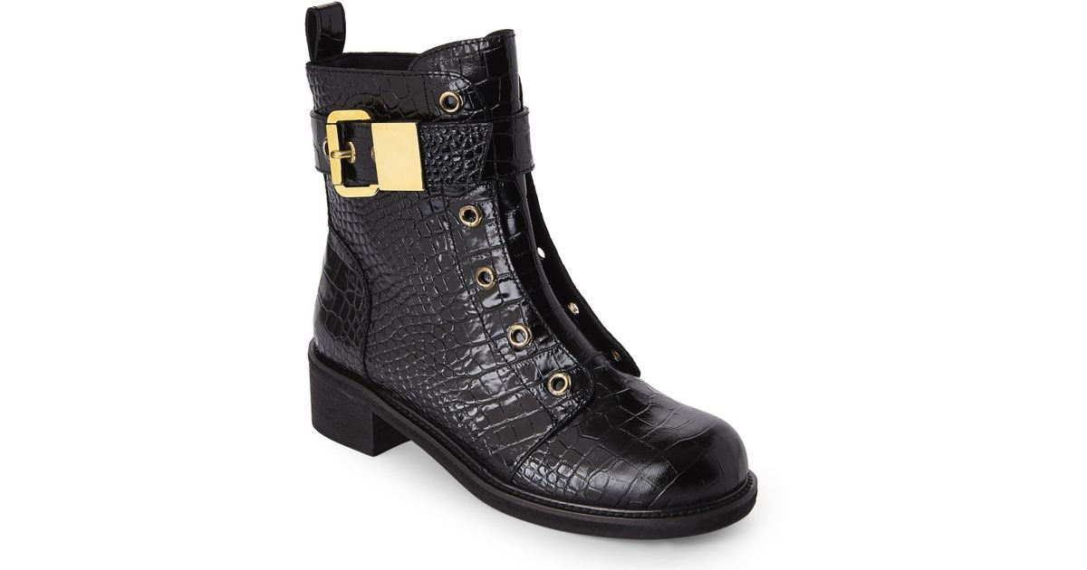 Lyst - Giuseppe Zanotti Croc-Embossed Combat Boots in Black 57f1d587b