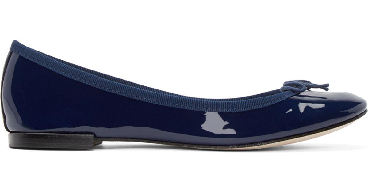 Repetto Navy Patent Leather Cendrillon Ballerina Flats In