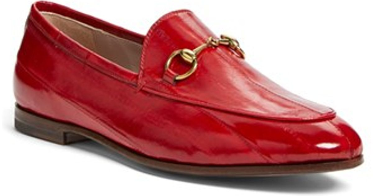 609678bec86 Lyst - Gucci Red Brixton Leather Loafers in Red - Save 8%