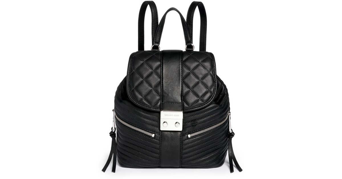 5f4d27c35b3c Michael Kors 'elisa' Rhodium Buckle Quilted Leather Backpack in Black - Lyst