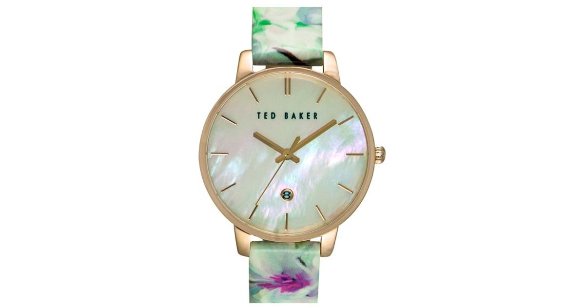ea519cc2d944 Lyst - Ted Baker Floral Print Strap Watch