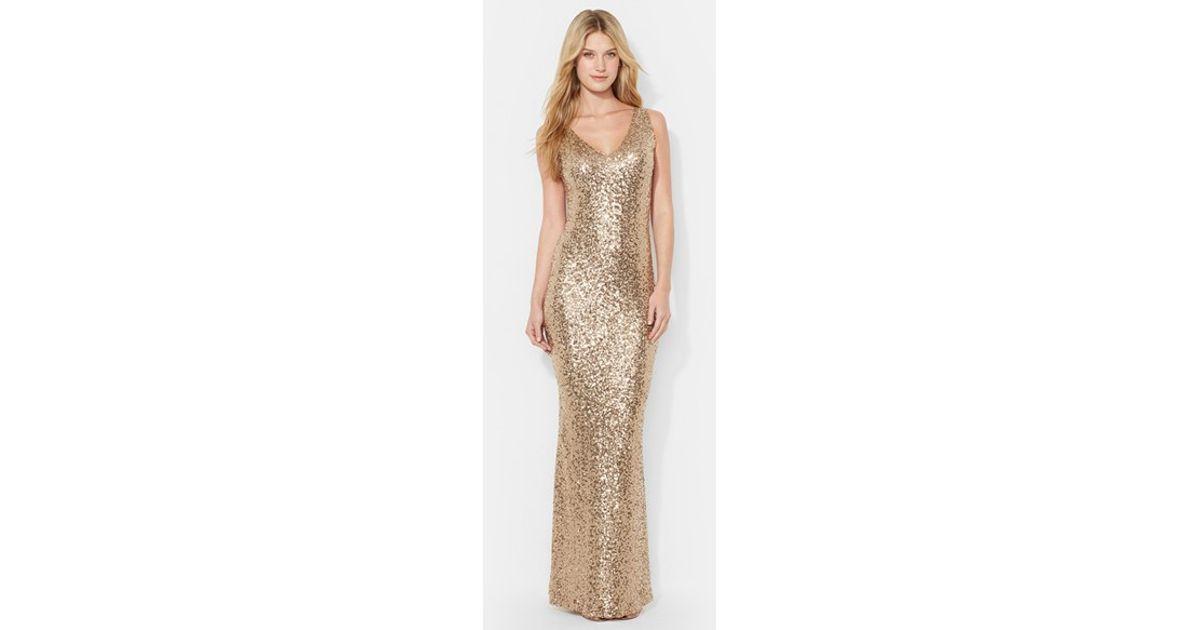 ralph lauren long sleeve surplice jersey gown lauren gold sequin dress