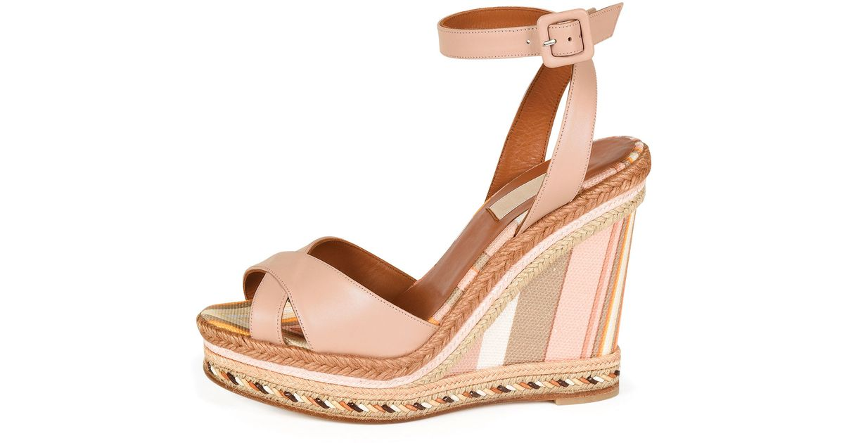 b2a2367f438 Lyst - Valentino 1975 Leather Wedge Espadrille Sandals