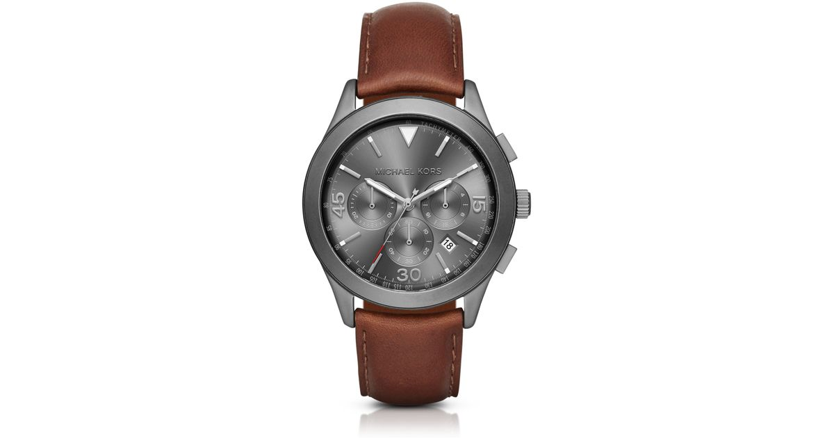df2cc644a348 Picture of Michael Kors Men Gareth Mk8471 Gunmetal Leather Quartz Watch