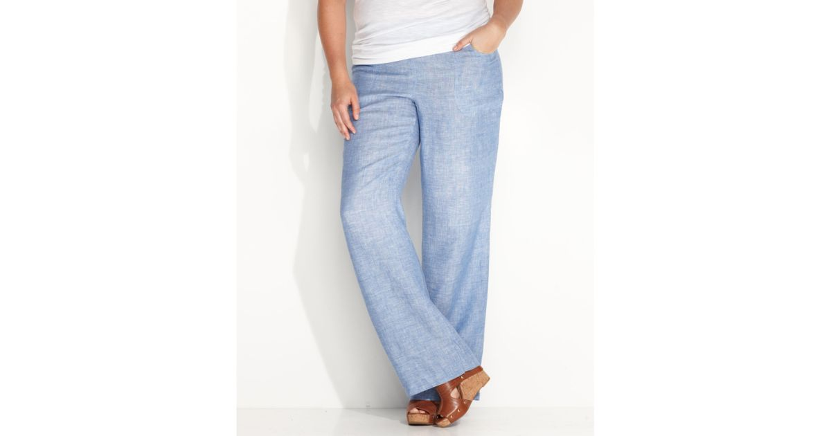 Inc international concepts Plus Size Wideleg Linen Pants in Blue ...