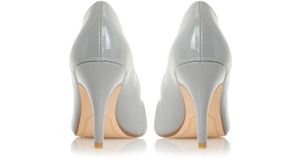 Grey Mid Heel Court Shoes Uk