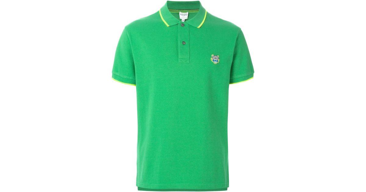 9cb85b80 KENZO Tiger Appliqué Polo Shirt in Green for Men - Lyst