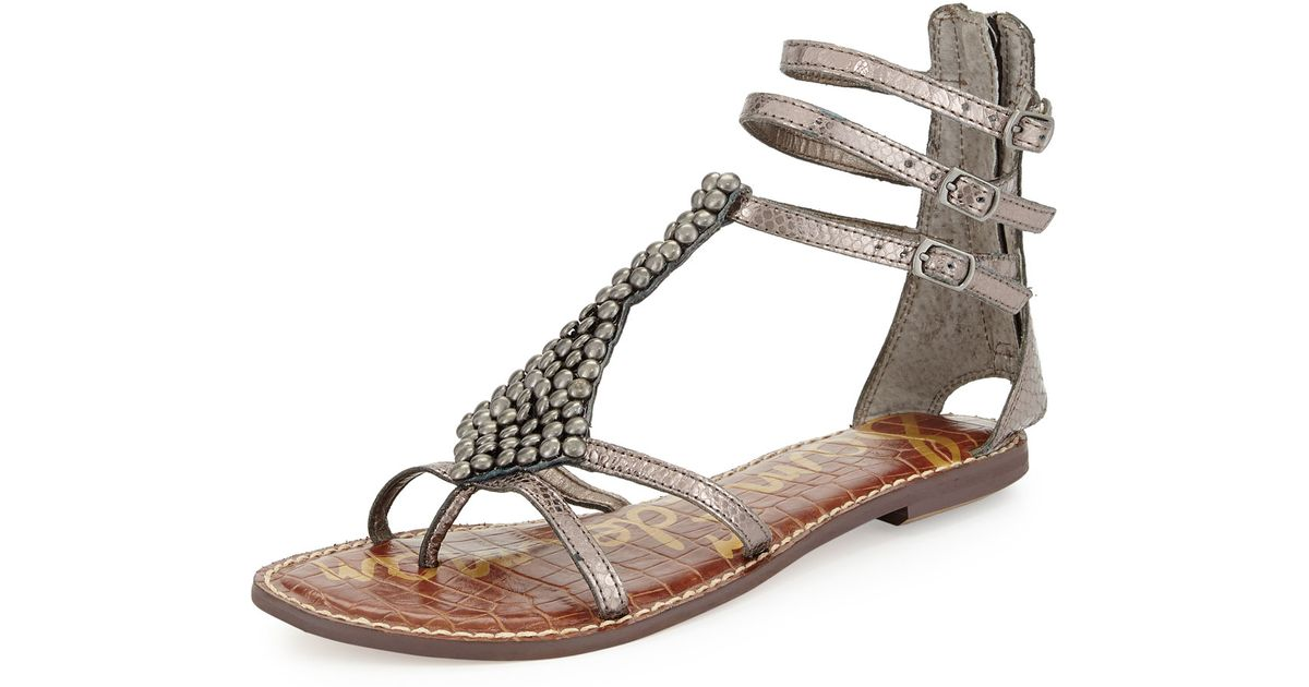 e68eab419bb3 Lyst - Sam Edelman Ginger Beaded Metallic Gladiator Sandal