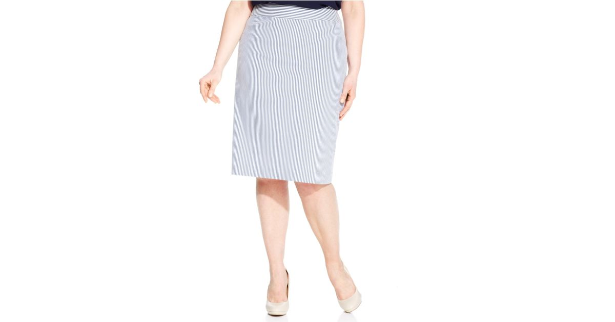 0d61818184d Nine West - Blue Plus Size Seersucker Pencil Skirt - Lyst