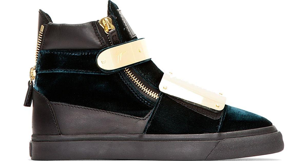 60c44bda295c Lyst - Giuseppe Zanotti Green Velvet Metal plate Veronica Sneakers in  Metallic for Men
