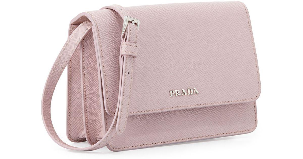 0df3bccc6a24 Lyst - Prada Saffiano Lux Crossbody Bag in Pink