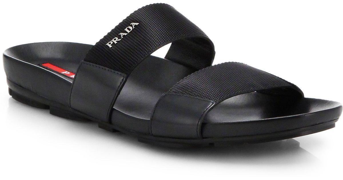 eafc75f386e47e Lyst - Prada Double-Strap Nylon Sandals in Black for Men