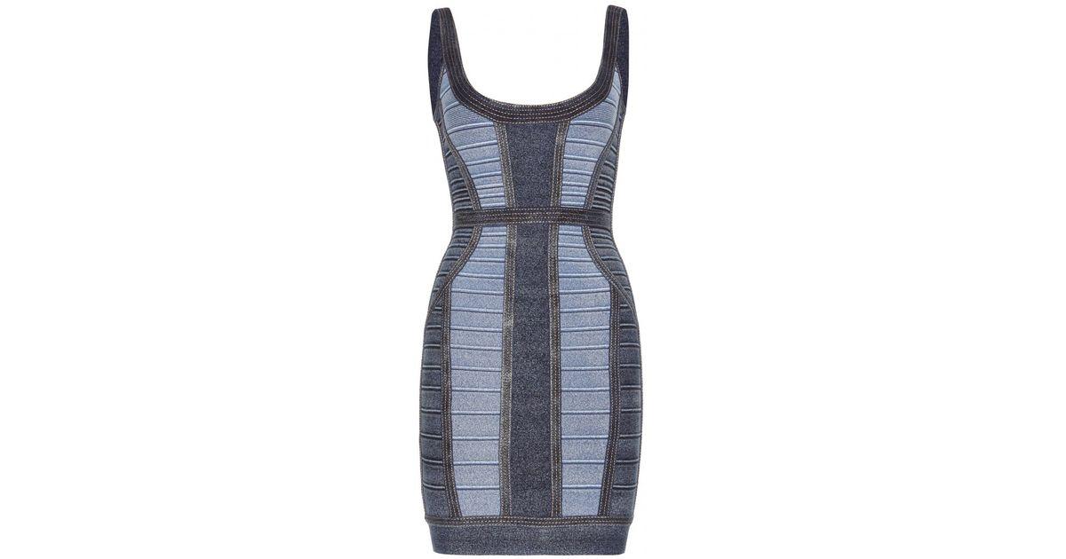58ffc9607e7 Lyst - Hervé Léger Aja Denim-effect Bandage Dress in Blue