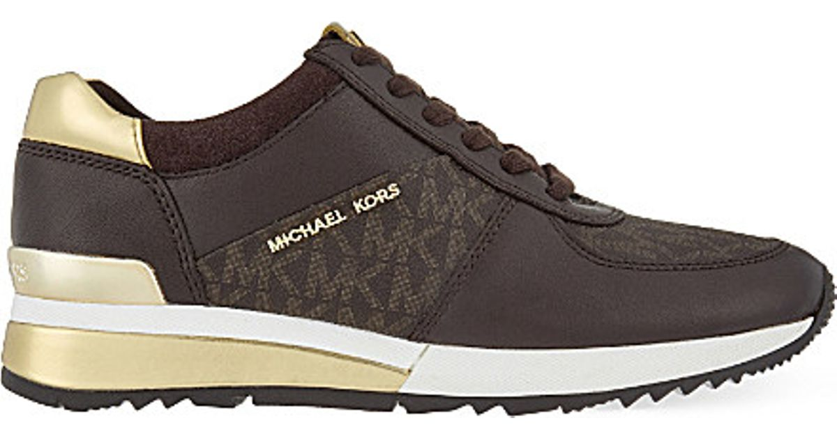7d66fdcc346a MICHAEL Michael Kors Allie Wrap Leather Trainers in Brown - Lyst
