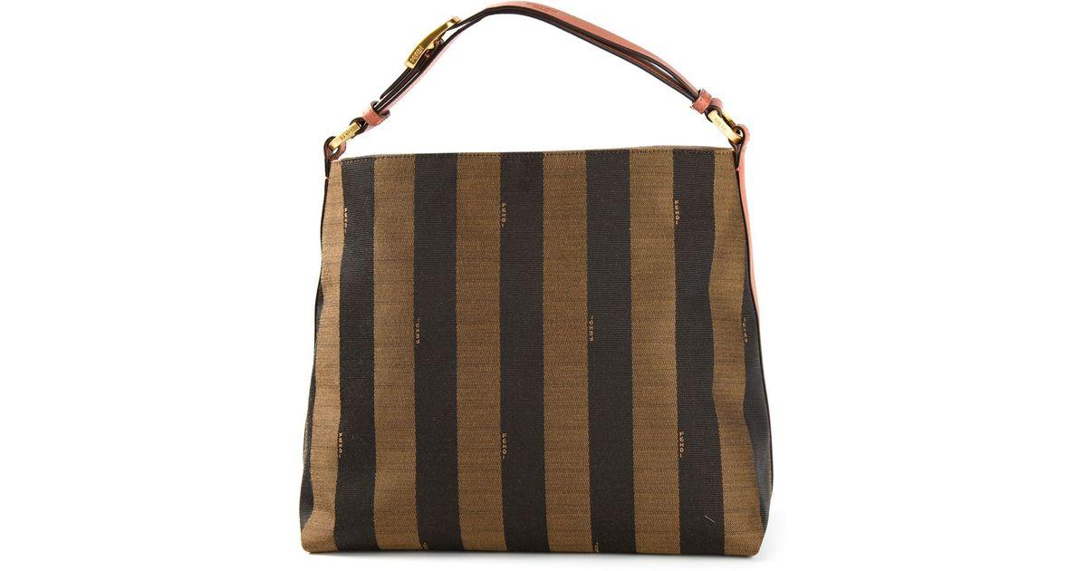 73a6dcfebe5f Lyst - Fendi Pequin Hobo Shoulder Bag in Black
