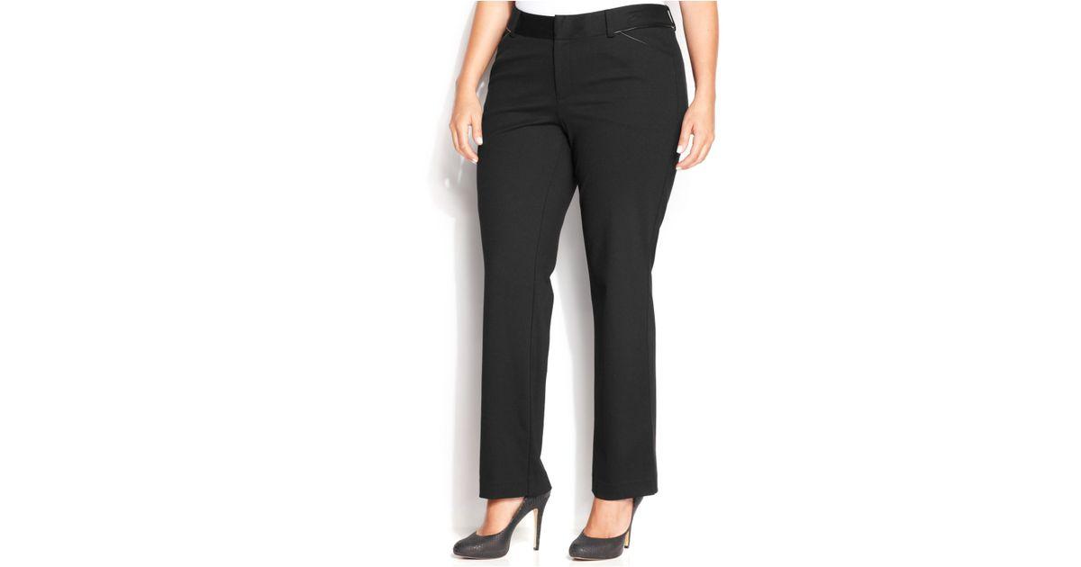 9e85b986e22ce INC International Concepts Plus Size Faux-Leather-Trim Straight-Leg Ponte  Pants in Black - Lyst