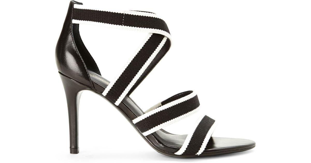 ab9a46c3b2b Lyst - Isaac Mizrahi New York Black   White Pennie Strappy Sandals in Black
