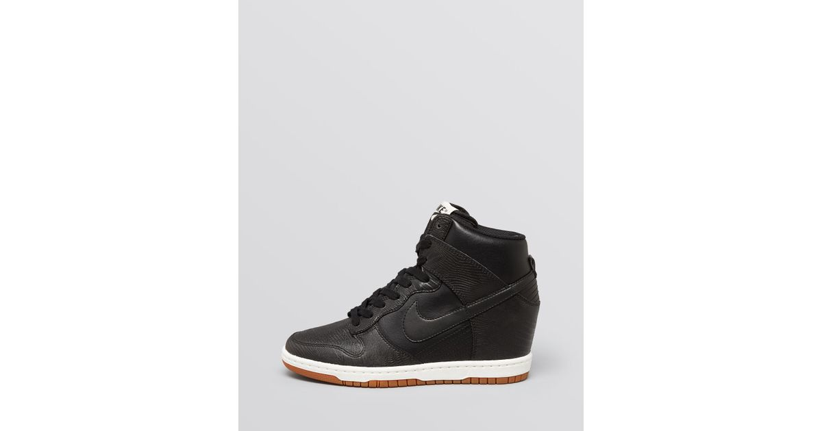 e0fa499753f4 Lyst - Nike Lace Up High Top Wedge Sneakers - Women S Dunk Sky Hi Embossed  in Black