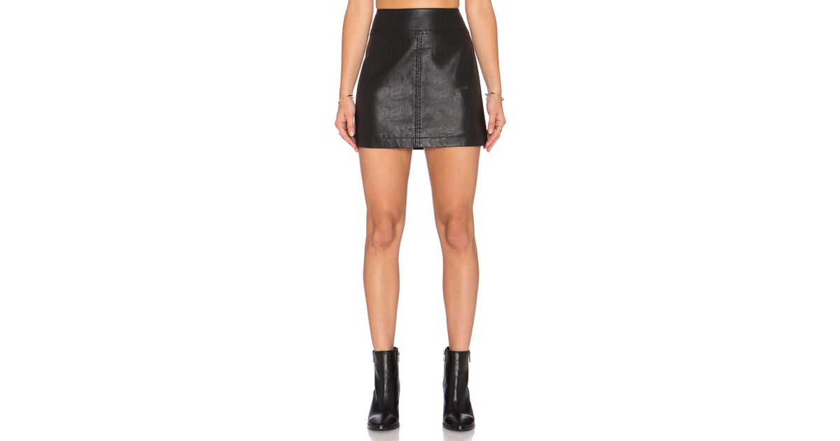 Free people Zip It To Vegan Leather Mini Skirt in Black | Lyst