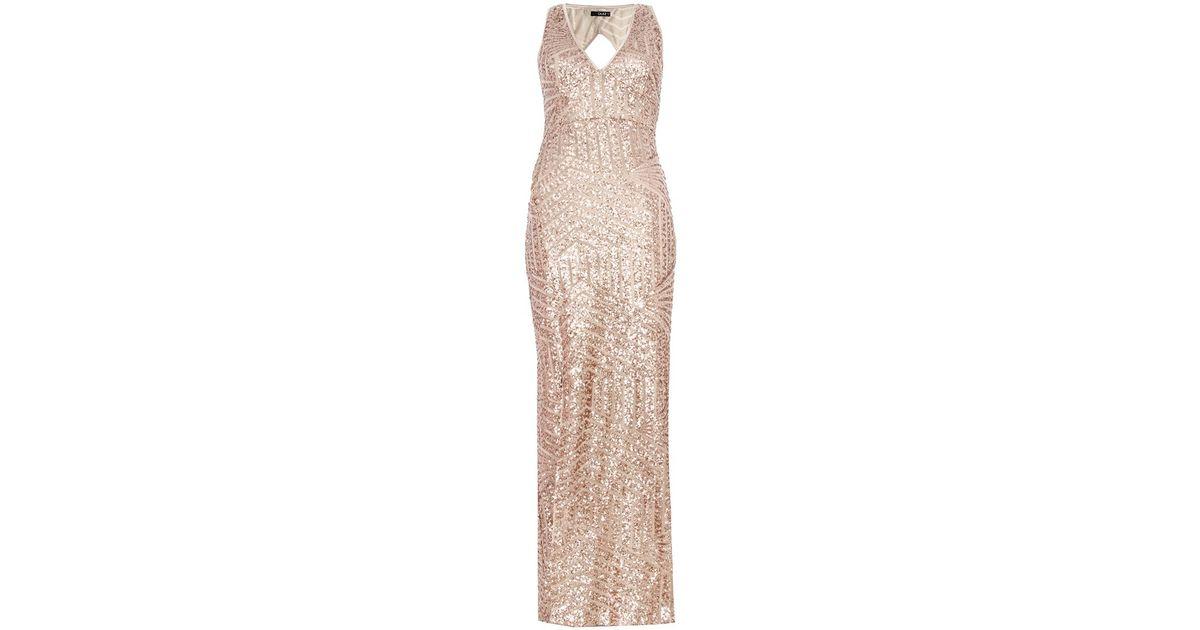 Quiz gold zig zag dress