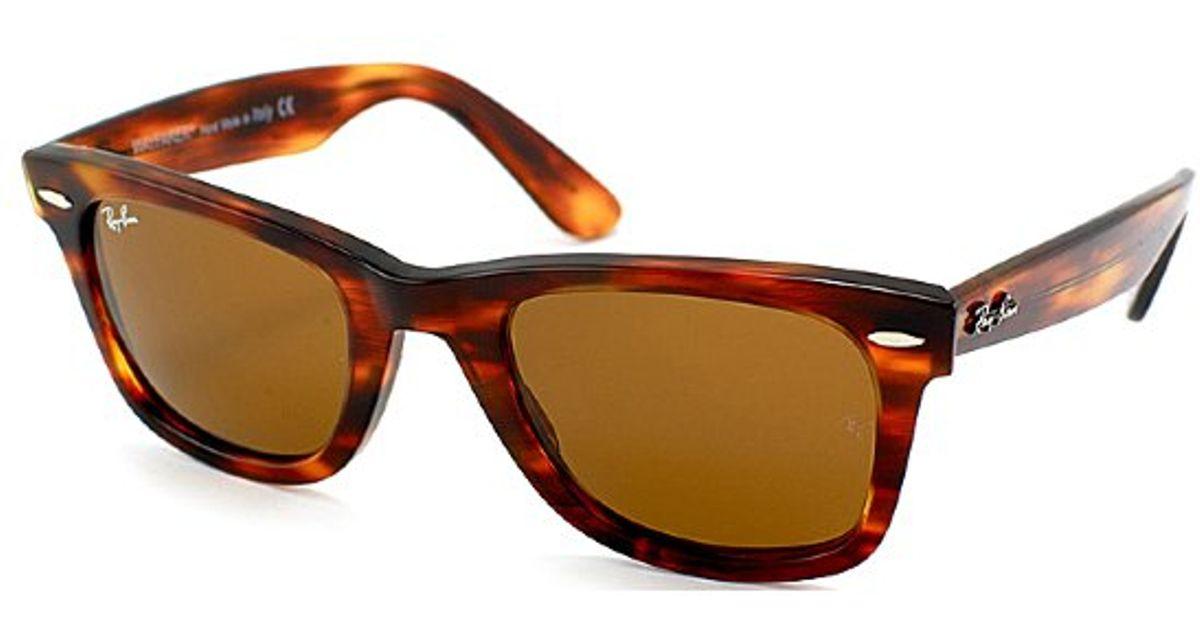 736c5669b7f69 ... free shipping lyst ray ban ray ban rb2140 original wayfarer 954 light  tortoise sunglasses brown lens