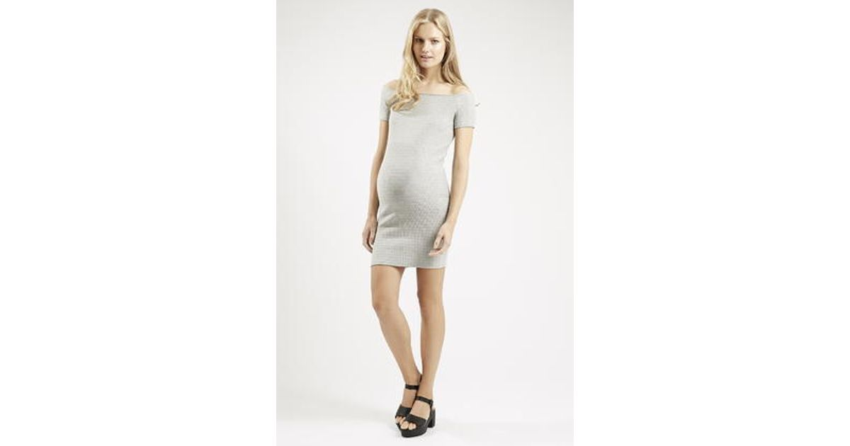 1756bdc3dce66 Lyst - TOPSHOP Maternity Bardot Textured Bodycon Dress in Gray