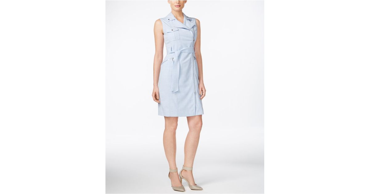 Calvin Klein Belted Asymmetrical Zip Sheath Dress In Blue