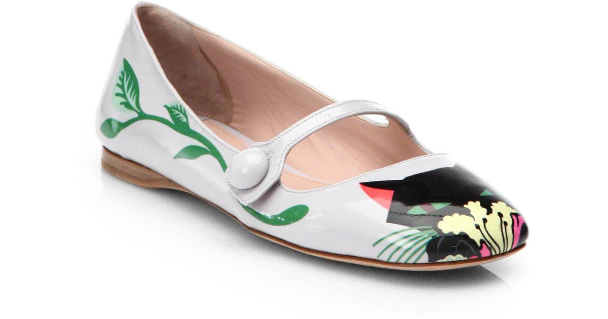 Miu miu Cat Patent Mary Jane Flats in White   Lyst