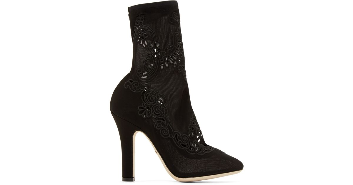 Dolce & Bottes De Chaussures Dentelle Gabbana - Noir jn3IQb5l