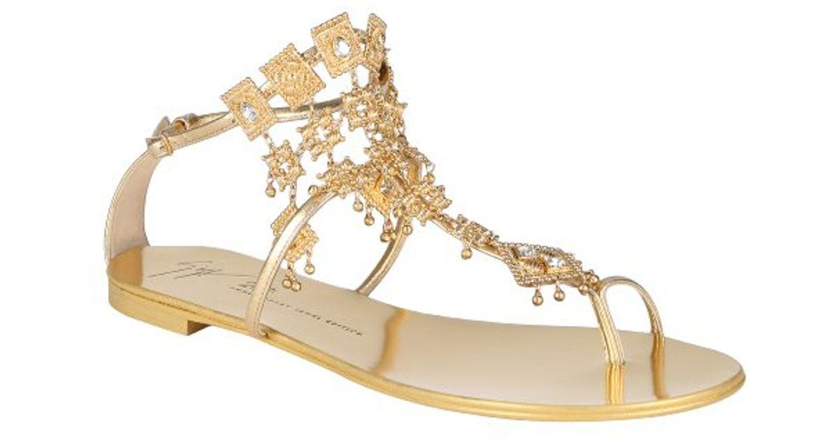 e52a9f08fdfb2e Giuseppe Zanotti Gold Metallic Leather  20th Anniversary  Chandelier Sandals  in Metallic - Lyst